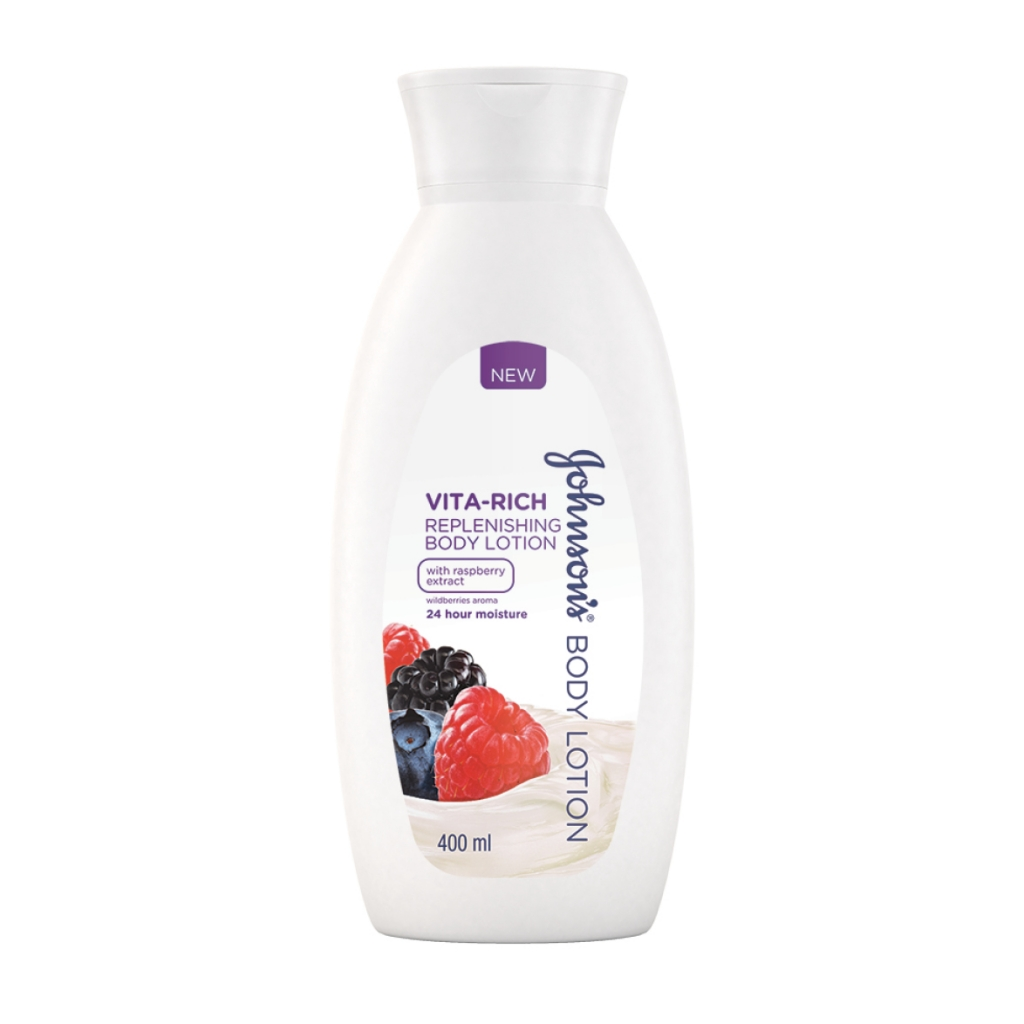 JOHNSON'S® Body Care Vita-Rich Replenishing Body Lotion with Raspberry extract