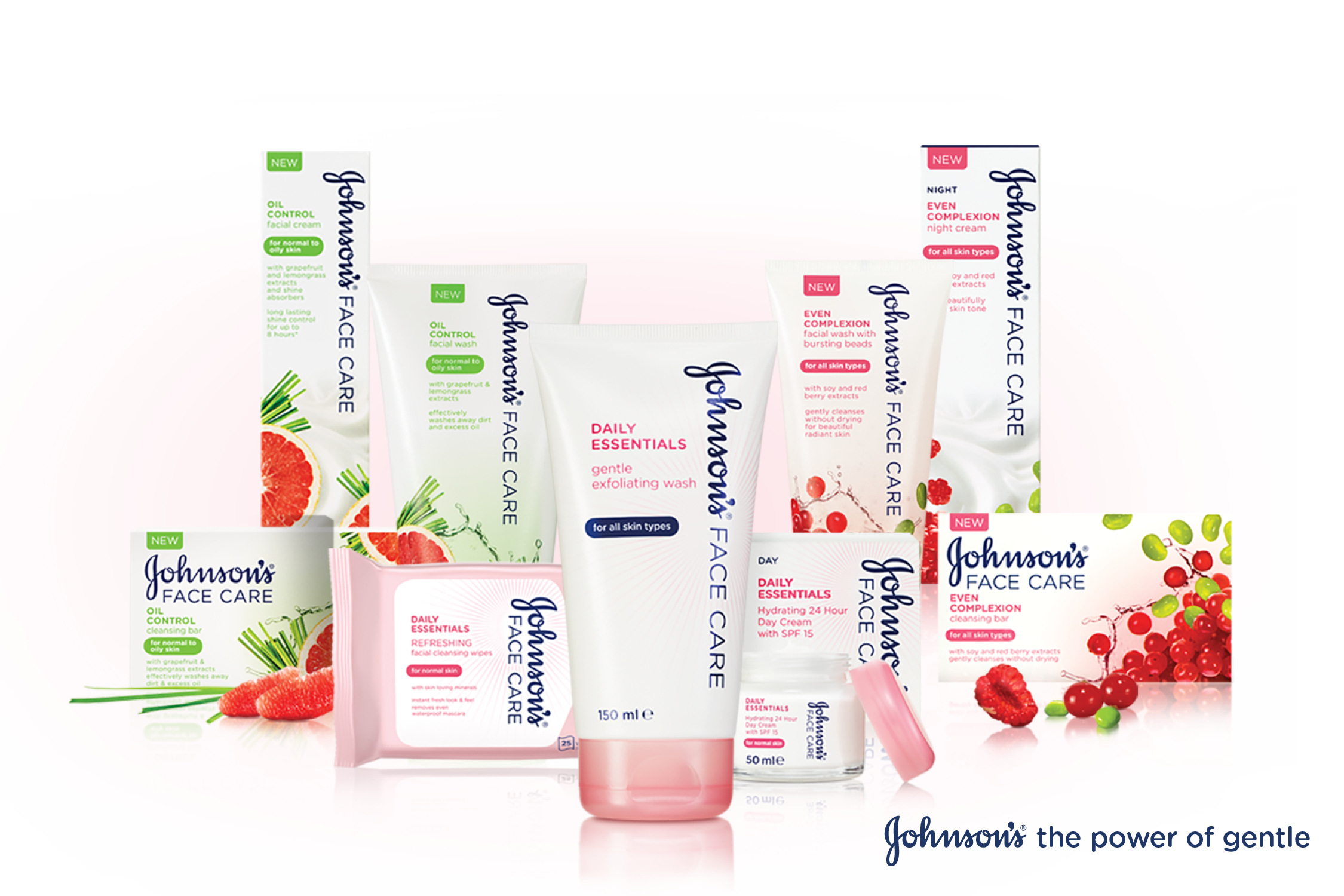 Johnson's facecare product range image